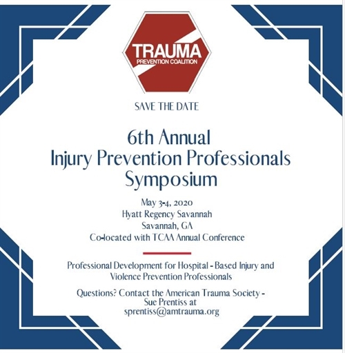 Save the Date: 6th Annual Injury Prevention Professional Symposium flyer